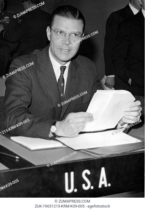 Dec. 15, 1965 - Paris, France - ROBERT MCNAMARA, the United States Secretary of Defense, at a conference at the Palace of the Parliament of Dauphine