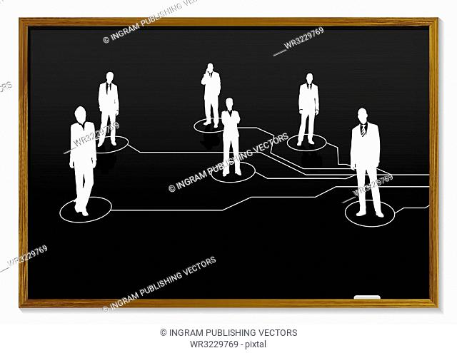 blackboard with chalk white business people and connections
