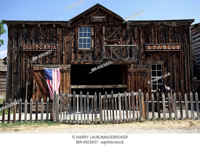 Historic building, barn, Wild West open-air museum, Nevada City Museum, former gold mining town, Ghost Town, Montana Province, USA