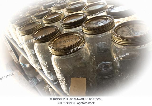 Old bottles on display in a collecters store