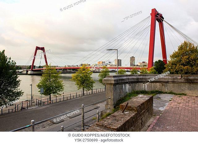 Rotterdam, Netherlands. View on the iconic Willemsbridge, locally knows as: 'De Willemsbrug' from Noordereiland (North Island)
