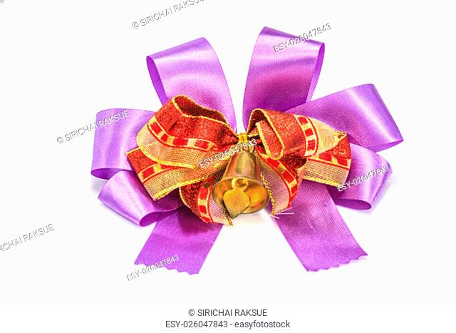 bell and ribbon with bow isolated on white
