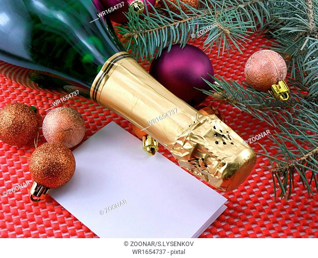 champagne bottle and christmas decoration, happy new year and merry christmas