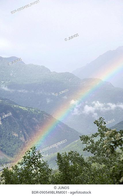 rainbow over landscape near Grenoble in France