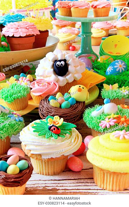 Easter cupcakes and Easter eggs display. Also available in horizontal