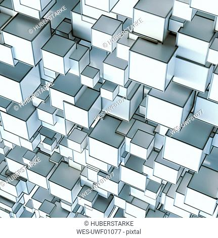 Pattern of angular shapes, 3D rendering