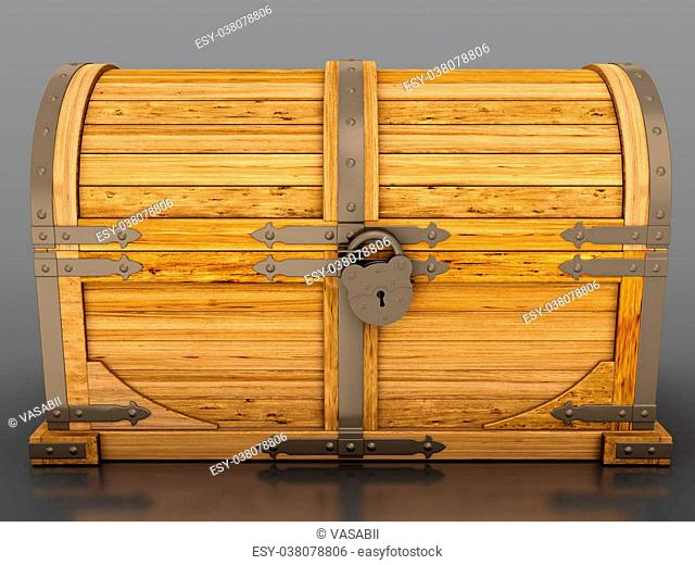 Locked treasure chest isolated on grey background