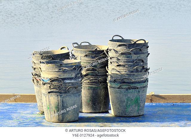 Baskets in the little port of L'Illa de Mar. Ebro Delta, Tarragona. Catalonia, Spain