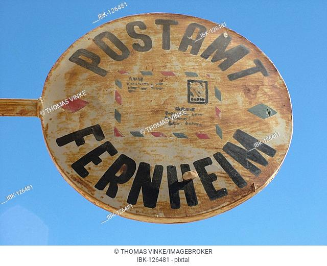 German sign of the post office at blue sky in the Mennonite colony, Filadelfia, Fernheim, Gran Chaco, Paraguay