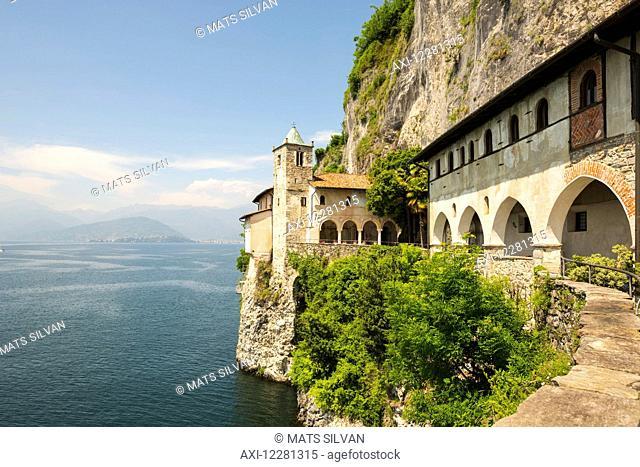 Hermitage of Santa Caterina del Sasso, a roman catholic monastery; Leggiuno, Lombardy, Italy