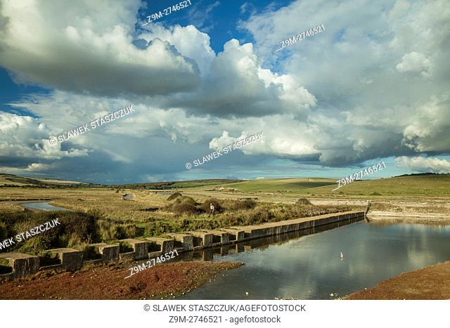 Autumn afternoon at Cuckmere haven near Eastbourne, East Sussex, England. South Downs National Park