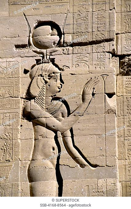 Egypt, Aswan, Nile River, Agilkia Island, Philae, Second Pylon, Relief Carving