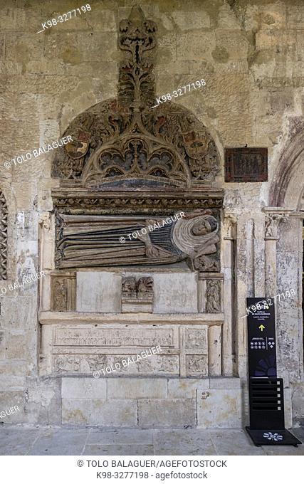 sepulcro junto a la capilla de Santa Barbara, Catedral de la Asunción de la Virgen, Salamanca, comunidad autónoma de Castilla y León, Spain