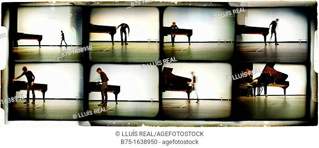 Multi-image sequence of a musician pianist with a grand piano on stage