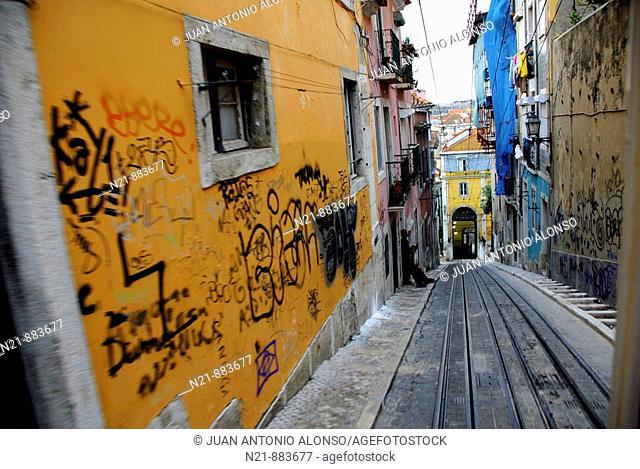 Rua de Bica Duarte Belo. Chiado, Lisbon, Portugal