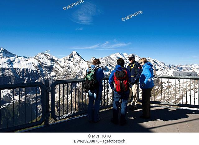 tourists on Schilthorn looking at Jungfrau massif, Switzerland, Bernese Oberland