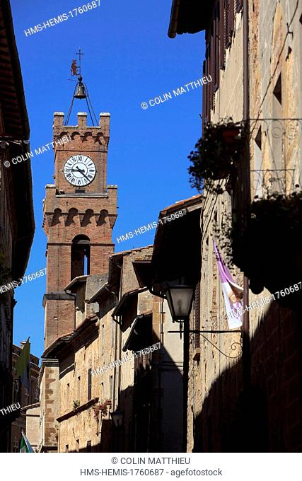 Italy, Tuscany, Val d'Orcia, listed as World Heritage by UNESCO, Pienza, belfry