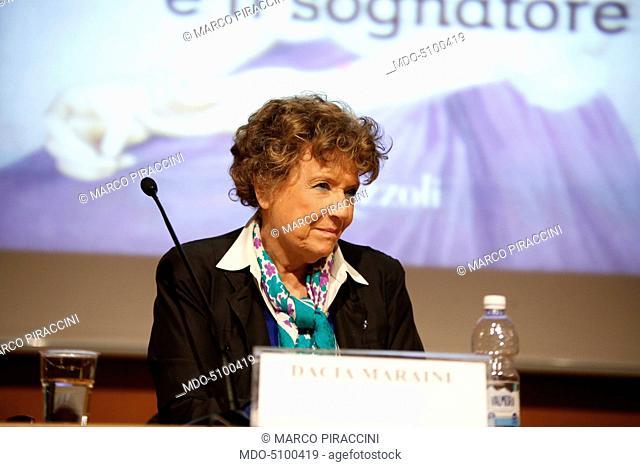 The Italian writer Dacia Maraini during her speech at the XXIX International Book Fair in Turin. Lingotto Fiere, May 14, 2016