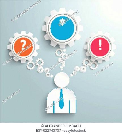 Businessman 3 Gears Speech Bubbles Idea PiAd