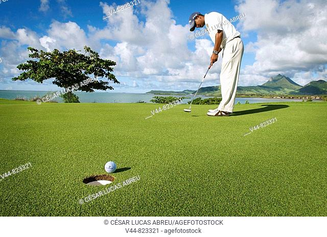 18 hole golf course on Île aux Cerfs, Hotel Le Touessrok, Mauritius