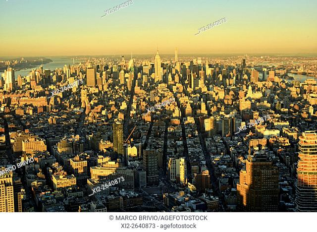 View of Manhattan from above at sunset. New York City, USA