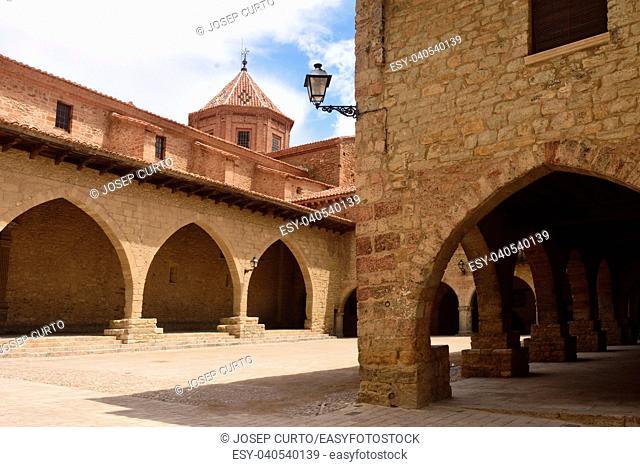 square of Cristo Rey,Cantavieja,Maestrazgo, Teruel province, Aragon, Spain