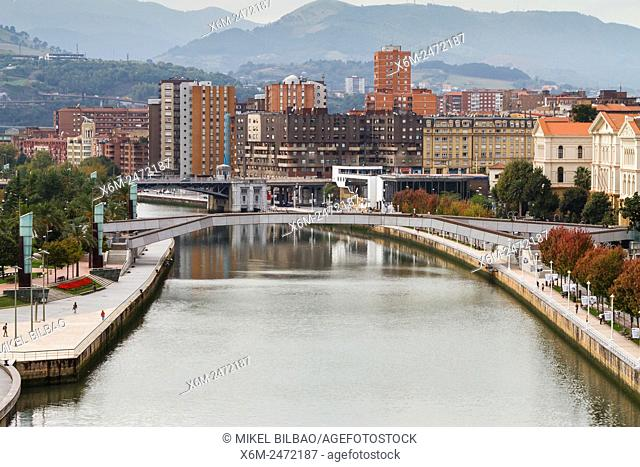 Pedro Arrupe footbridge and Nervion river. Bilbao, Biscay, Spain, Europe