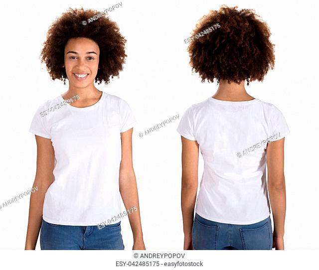 Portrait Of A Happy Young Woman Standing On White Background