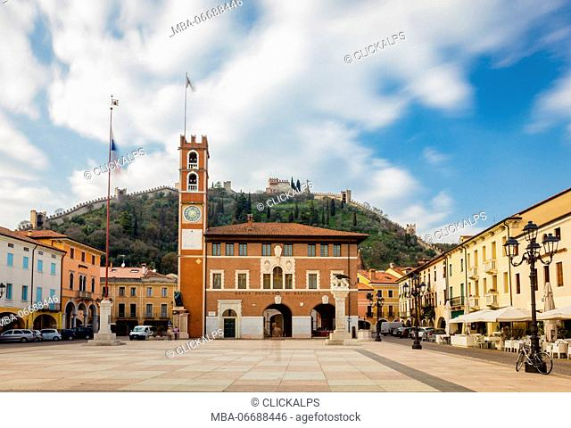 Town square, Marostica, Province of Vicenza, Veneto, Italy. Medieval castle surrounded by walls