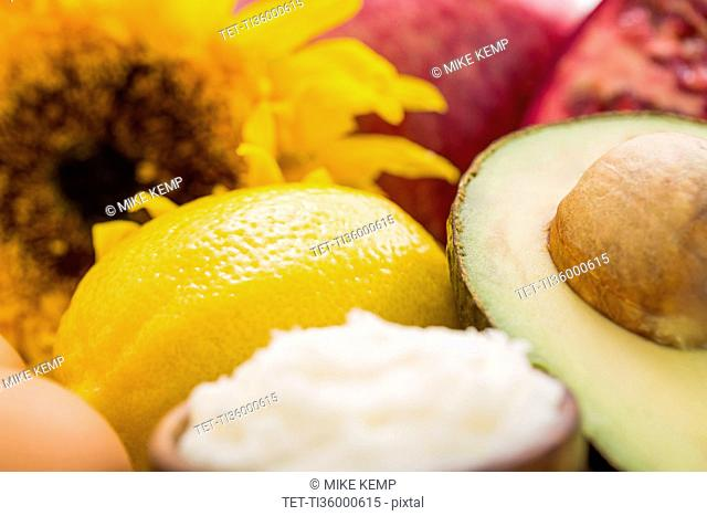 Sunflower and fresh lemon with avocado