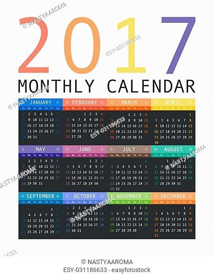 Calendar 2017 year simple style. Week starts from sunday