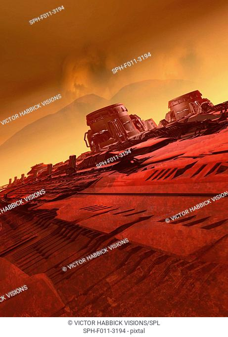 Industrial structures on planet Mars, computer illustration