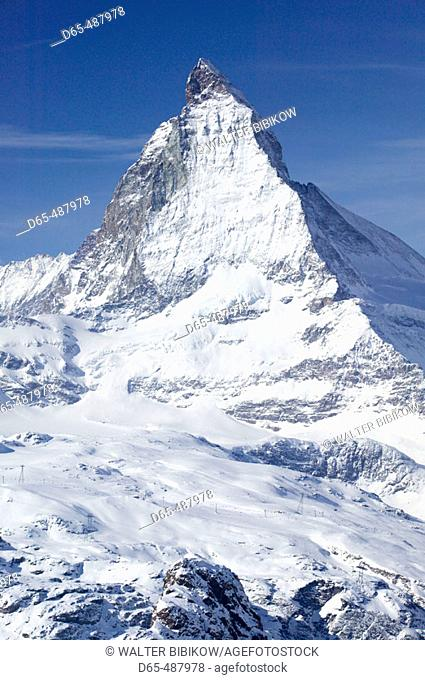 View of the Matterhorn / Winter. Gornergrat Mountain (el.3089 meters). Zermatt. Valais-Wallis. Switzerland