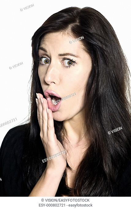 studio shot portrait on isolated white background of a Beautiful Woman studip dumb silly