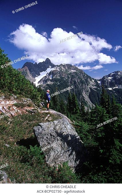 Strathcona Provincial Park, Mt Septimus with hiker, Vancouver Island, British Columbia, Canada