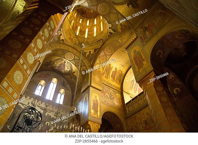 The Orthodox cathedral of Saint Dimitrie interior in Craiova on March 17, 2017 Romania