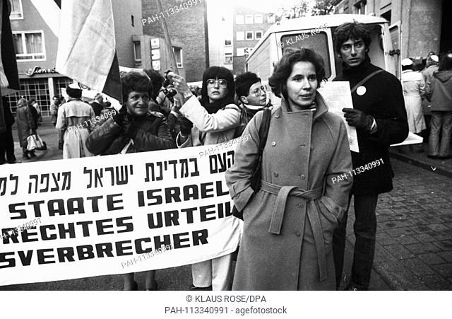 French Jews and German Nazi victims demonstrate for a conviction of the accused Kurt Lischka, the former Gestapo chief of Paris, during the trial on October 23