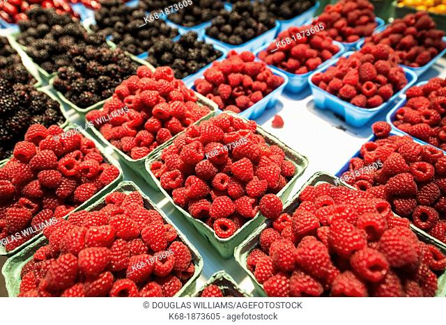 baskets of raspberries in a market