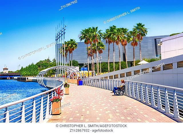 People enjoying the Riverwalk in downtown Tampa FL
