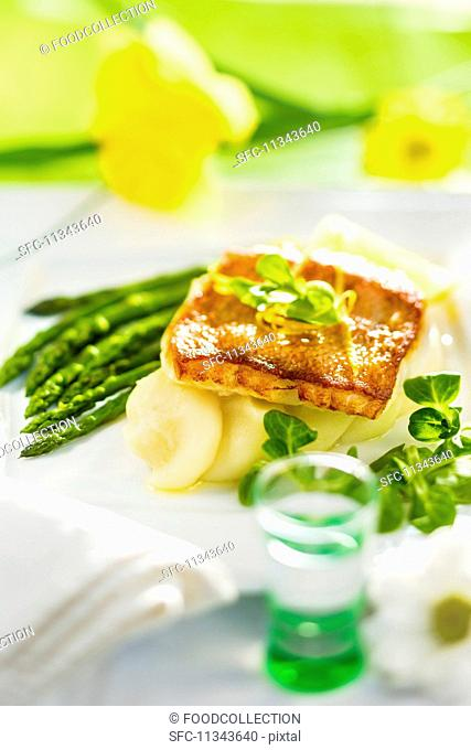 Rosefish with asparagus and mashed potatoes