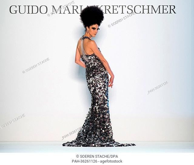 A model presents a creation at the Guido Maria Kretschmer show during the  Fashion Week in 119e16389b