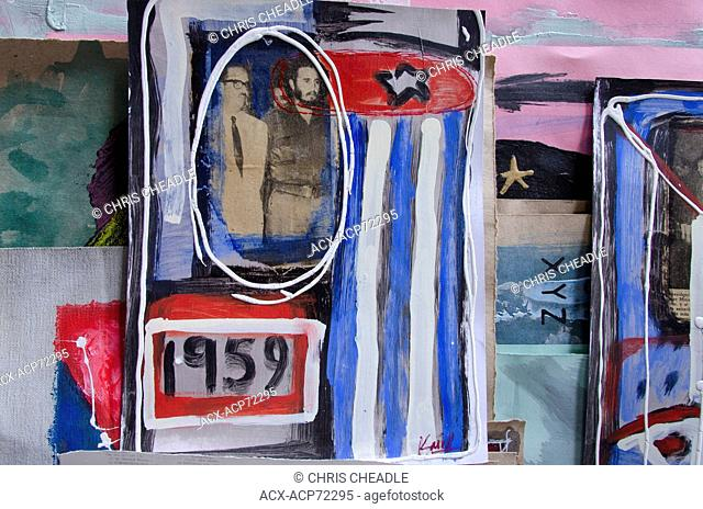 Art stall depicting revoltion, Havana Vieja, Havana, Cuba