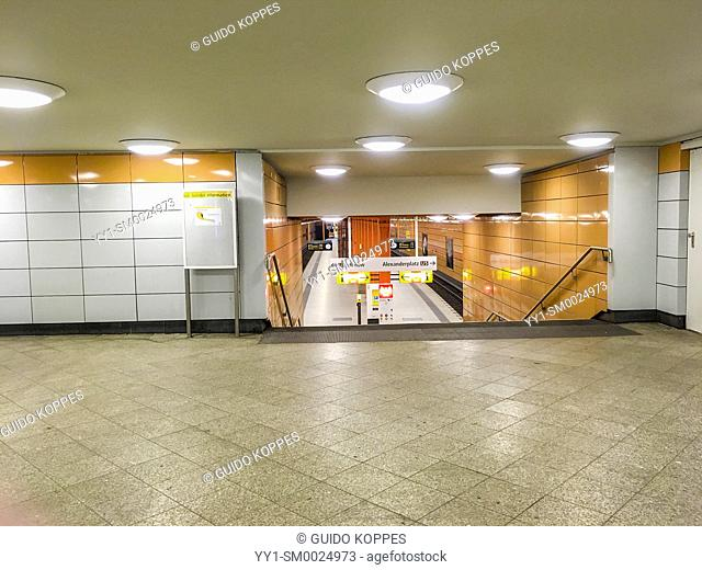 Berlin, Germany. Interior of an underground U-Bahn Station alongside and underneath the Karl Marx Allee in former East Berlin