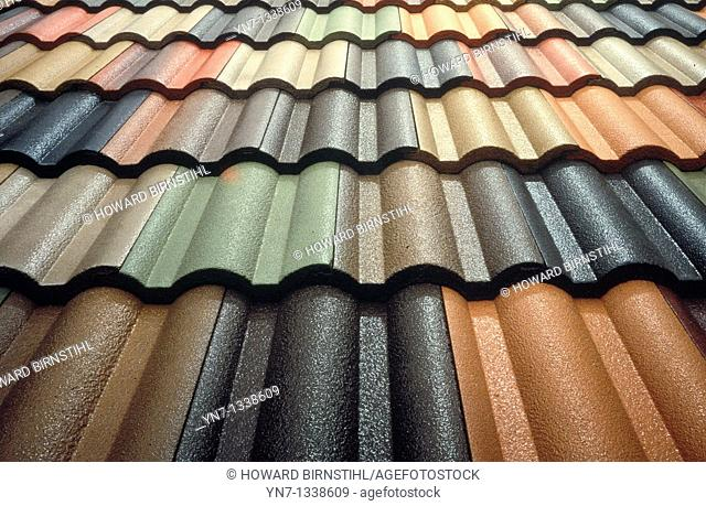 tiled roof showing the shape,color and texture of the tiles