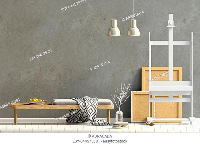 Modern interior design in Scandinavian style with bench. Mock up wall. 3D illustration