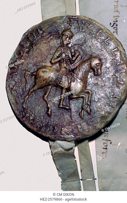The seal of William II (1056-1100), depicting a man on horseback. He was commonly known as William Rufus, possibly because of his red faced appearance