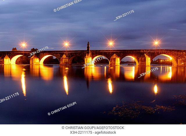 the Old Bridge over the Loire river by night, La Charite-sur-Loire, Nievre department, Burgundy region, France, Europe