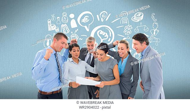Digitally generated image of cheerful business people reading document with various icons in backgro