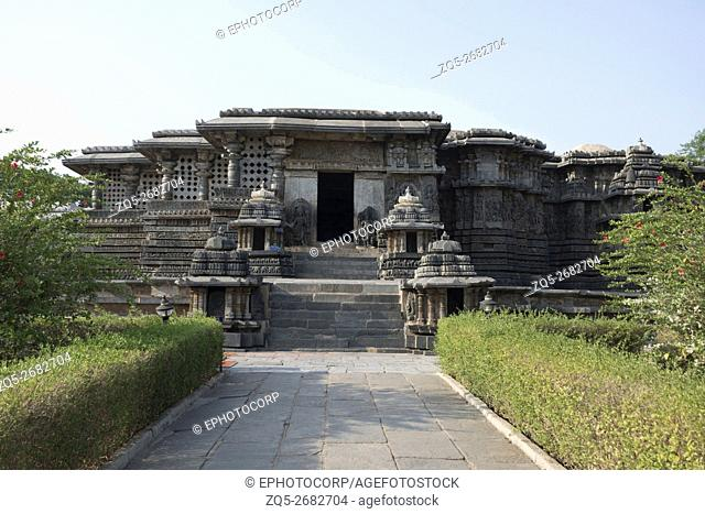 Frontal view of the Hoysaleshvara Temple, Halebid, Karnataka, india. View from the North