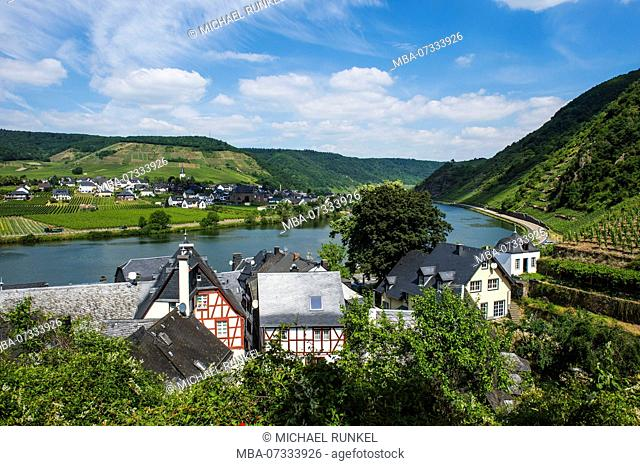 Overlook over Beilstein and th Moselle, Moselle valley, Rhineland-Palatinate, Germany